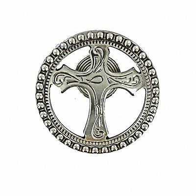 "58S-CCDC150 - One (1) Western Saddle Dotted Christian Cross 1-1/2"" Concho"