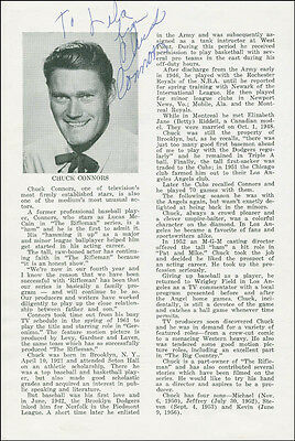 Chuck Connors - Inscribed Program Page Signed