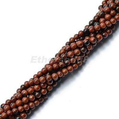 4mm Round Red Obsidian Beads Jewelry Bracelet Making Loose Gemstone 15""