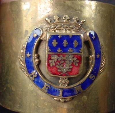 Antique Brass Napkin Ring with Applied Enameled Crest REIMS France