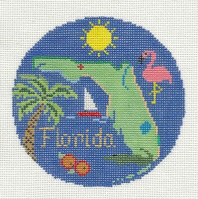 """Silver Needle FLORIDA STATE Design handpainted 4.25"""" Needlepoint Canvas Ornament"""