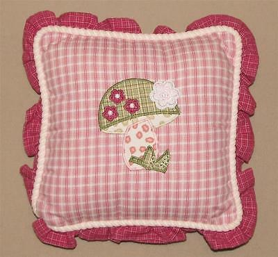 Baby Martex Blossoms Pink Green Mushroom Plaid Decorative Nursery Pillow Decor