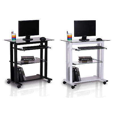 Computer Workstation Laptop Desk Glass Top PC Desk Table Stand w/ Wheels
