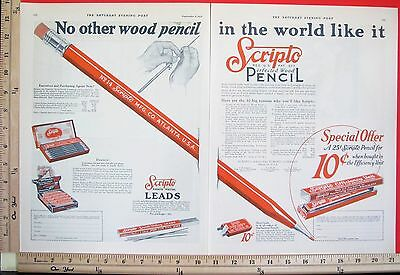 1925 SCRIPTO mechanical Perfected Wood Pencil & Leads 2-Page Magazine Ad 6812