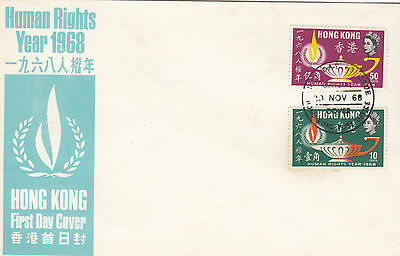 Stamps 1968 Hong Kong Human Rights pair on official first day cover