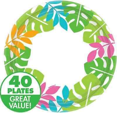 "Palm Leaf Border Tropical Luau Beach Theme Party Bulk 8.5"" Paper Dinner Plates"