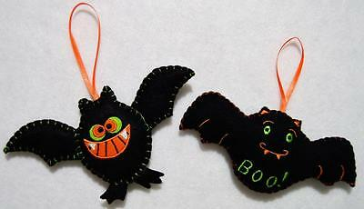 Hand~Crafted  Embroidered Black Felt Bat Halloween Tree Ornament Pair~New