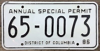 District of Columbia 1986 ANNUAL SPECIAL PERMIT License Plate with Registration!