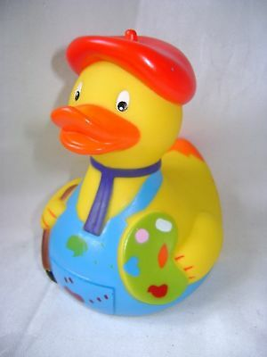 New Large Floating Bath Rubber Designer Duck Fun Gift Artist With Paint Yarto