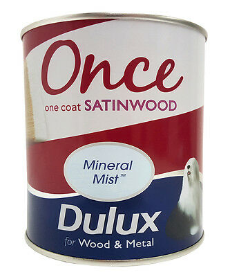 Dulux Once Satinwood One Coat Interior Wood & Metal Paint - Mineral Mist - 750ml