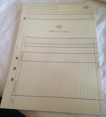 Genuine Mulberry 23x Expenses sheets A5 New but vintage
