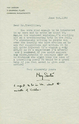 May Sarton - Typed Letter Signed 06/05/1940