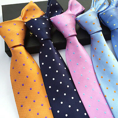 New Men Jacquard Classic 100%Silk Polka Dot Wedding Tie Casual Necktie Party