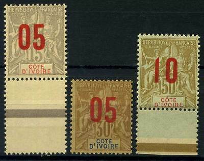 16-05-00893 - Ivory Coast 1912 Yv.  36,37,39 MNH 80% Cote-D'Ivoire Surcharge