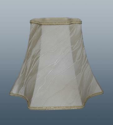 Square Scallop Lampshade Cream Fabric Lined Table or Floor Light Lamp Shade