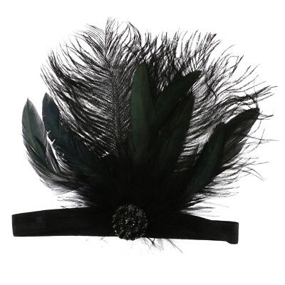 Black Feather Fascinator Flapper Dress Costume Hairband Bridal Headpiece