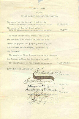 Thomas A. Edison - Document Signed 01/01/1886 With Co-Signers
