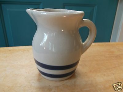 R.R.P. Co. Roseville, O. Tan Art Pottery Creamer with Blue Stripes