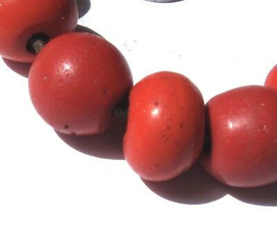 "9 Rare Old Amazing Red Venetian Tibetan ""faux Coral"" Antique Glass Beads"