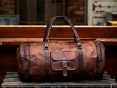 Large Brown Handcrafted Leather Holdall Duffle Gym Travel Weekend Bag RRP £105