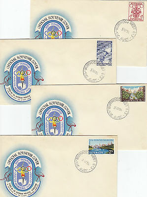 Stamps Australia 1956 Olympic Games set of 4 on 4 logo covers Burwood West Vic