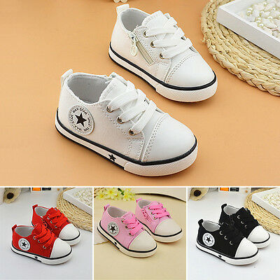 Fashion Boys Girls Soft Shoes Kids Flats Casual Lace up Toddler Babys Canvas Hot