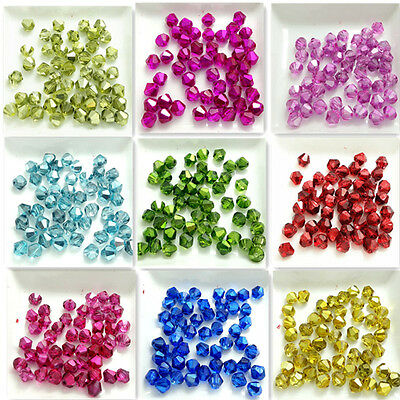 New color 100pcs Bicone Faceted Crystal Glass Findings Loose Spacer Beads 6mm