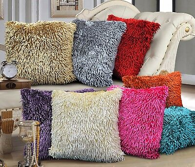 Luxury Shaggy Chenille Woven Cushion Cover Suede Back Scatter Decorative Pillow