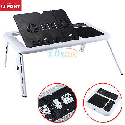 Foldable Laptop Desk Table e-Table Bed with USB Cooling Fans Stand TV Tray Hot