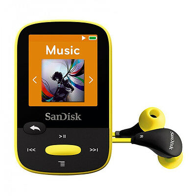 SanDisk Clip Sport 4 GB MP3 Player Yellow With Lcd New Uk SDMX24-004G-G46Y