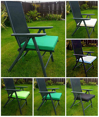 2x WATERPROOF Chair Cushion Seat Pad OUTDOOR Tie On Garden Patio REMOVABLE COVER
