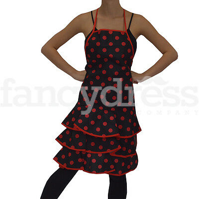 Ladies Spanish Flamenco Style Apron Black Red Spotty Christmas Kitchen Gift NEW
