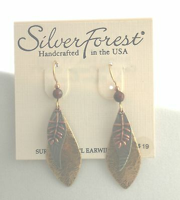 Silver Forest Handcrafted in Vermont Earrings Tri Color w/ Leaves NEW