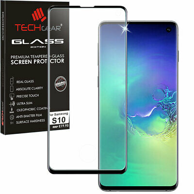 Black TECHGEAR 3D TEMPERED GLASS Full Screen Protector for Samsung Galaxy S10