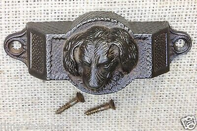 "Hound Dog doggie Drawer Bin 4"" Pull old cast iron REAL vintage 1897 door rare"