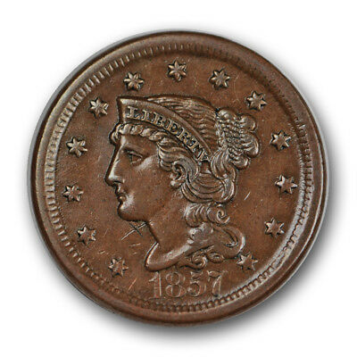 1857 1C Large Date Braided Hair Cent About Uncirculated AU R968