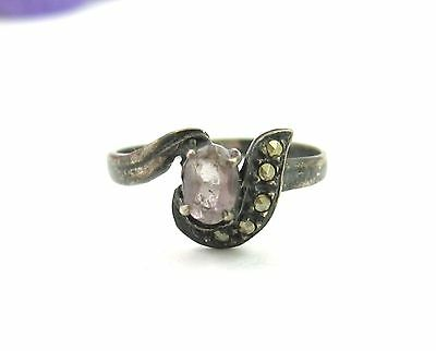 LAVENDER OVAL Stone & MARCASITE Vintage STERLING SILVER RING Size 5.25
