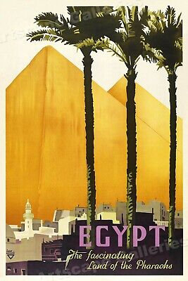 Egypt - Land of the Pharoahs 1937 Vintage Style Egyptian Travel Poster - 20x30
