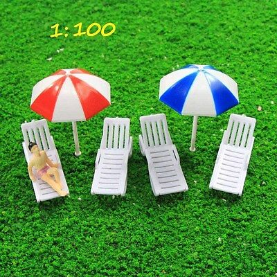 TYS34100 2 Sets Parasols Sun Loungers Deck Chairs Bench Settee 1:100 Scale Model