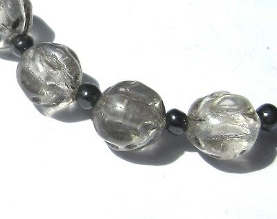 6 Stunning Small Old Clear Antique Glass Beads