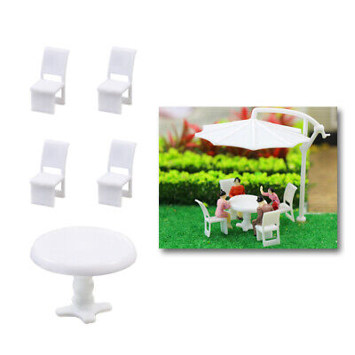 ZY01050 6 Sets White Round Dining Table Chair Settee Railway Model 1:50 O Scale