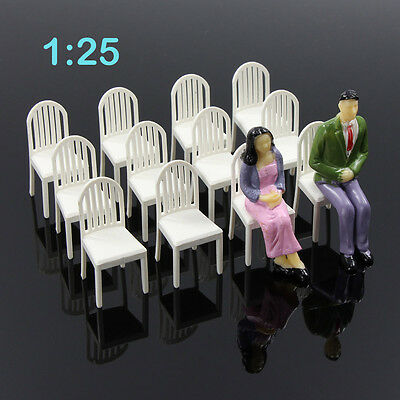 ZY18025 12pcs Model Train Railway Leisure Chair Settee Bench Scenery 1:25 Scale