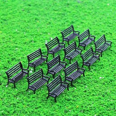 ZY25050B 12pcs Model Train Railway Platform Park Street Seats Bench Settee 1:50
