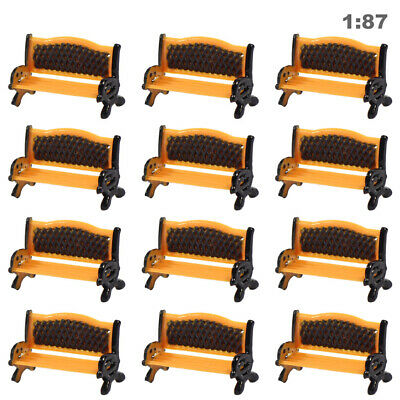 ZY35087OB 12pcs Model Train Platform Park Street Seat Bench Chair Settee 1:87 HO