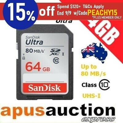SanDisk Ultra 64GB SD Memory Card SDXC UHS-I Class 10 80MB/s FHD *AU Warranty*