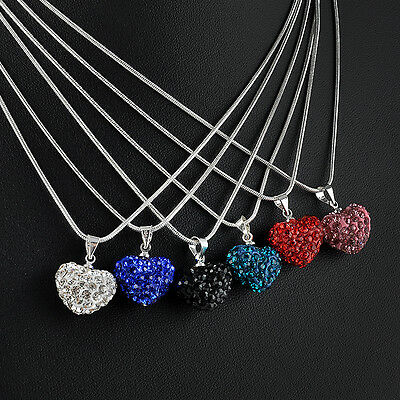 women Fashion Crystal Heart beaded Silver Plated Necklace Jewelry Pendant Chain