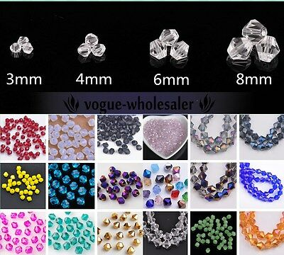 Lot Wholesale 3mm/4mm/6mm/8mm Bicone Faceted Crystal Glass Loose Spacer Beads