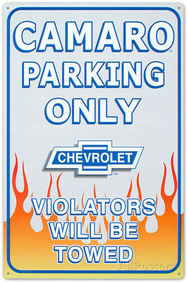 Chevrolet Chevy Camaro Car Parking Only Tin Sign - 11x17