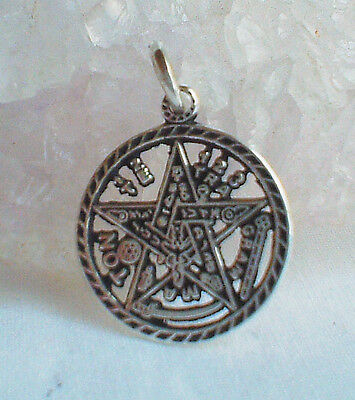 Tiny 925 Silver Tetragrammaton Pentacle Pentagram~Pagan~Magic~Talisman~Jewellery