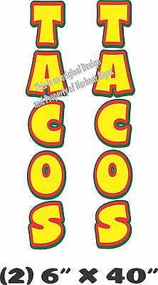 """Tacos Vertical Decal 40"""" x 6"""" each Concession Trailer Food Truck"""